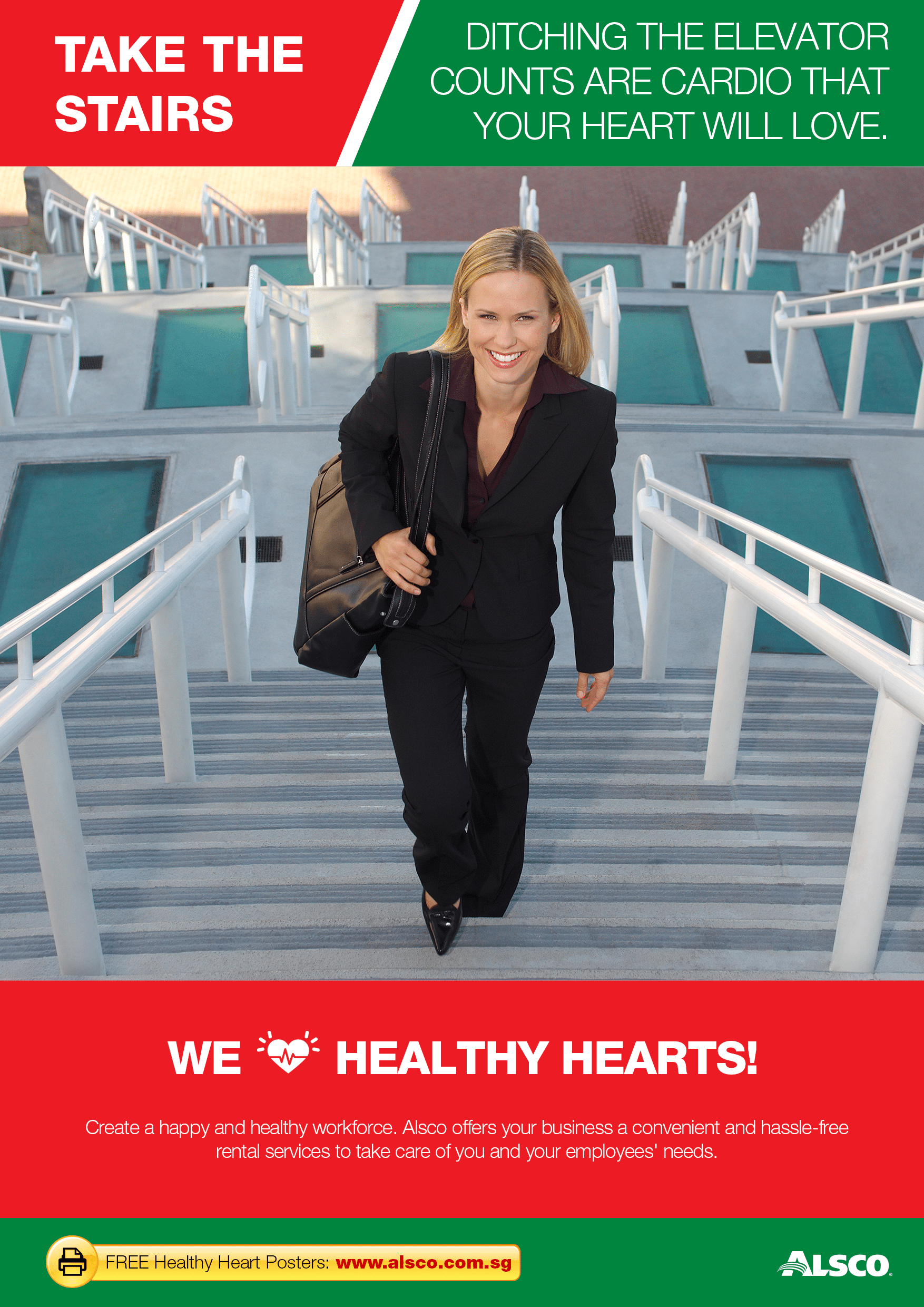 workplace heart health posters workplace ables alsco do simple cardio exercises take the stairs