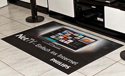 Philips NET TV printed on Alsco advertising mat