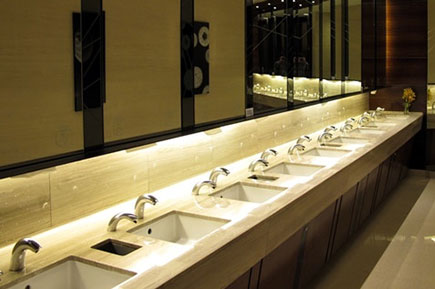 An elegant washroom with modern equipment.