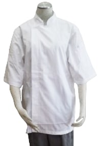 Alsco White Tetron Cotton Short Sleeve Chef's Jacket
