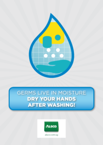 Germs live in moisture. Dry your hands after washing!
