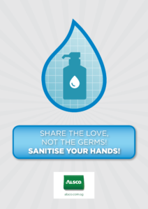 Share the love, not the germs. Sanitise your hands!