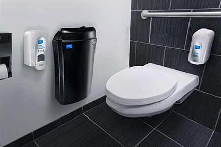 Clean toilet with a trash can and sanitiser