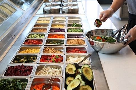 Colourful and healthy salad buffet