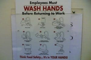 Hand hygiene reminder for employees