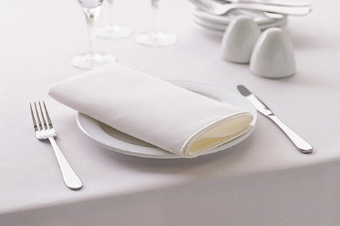 Clean white table linens