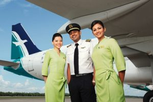 Flight attendants and pilot