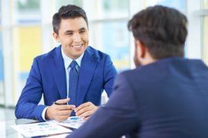 Happy employees talking