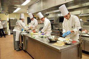 Kitchen staff busy working