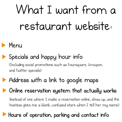 Keypoints for restaurant website