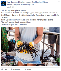 A facebook post saying no to plastic straws