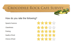 A restaurant's customer satisfaction survey.