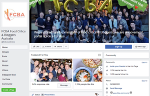 Facebook page of food critics and bloggers