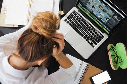 Stressful woman working