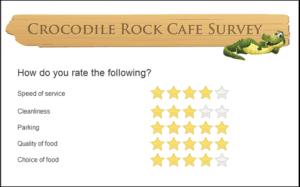 A restaurant's customer satisfaction survey.