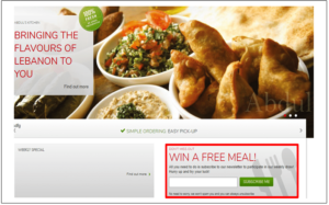 Win a free meal restaurant promotion