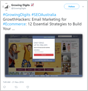 Twitter post on email marketing to build customer relations
