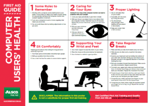 Alsco First Aid Guide Computer Users' Health poster