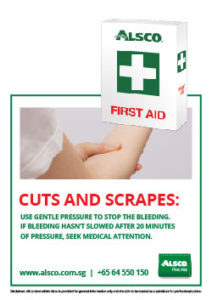Alsco First Aid cuts and scrapes poster