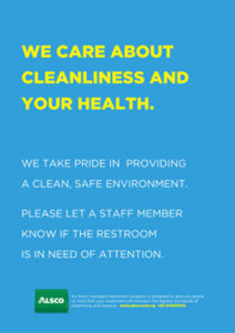 Alsco Cleanliness and Health blue poster.