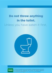 Alsco, do not throw anything in the toilet poster