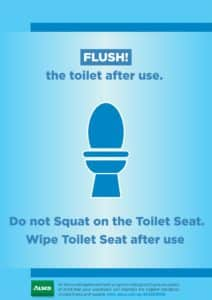 Alsco, flush off toilet after use poster