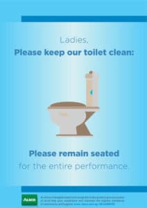 Alsco, ladies keep toilet clean poster