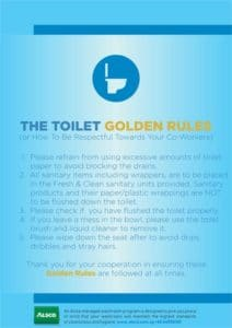Alsco, toilet golden rules poster