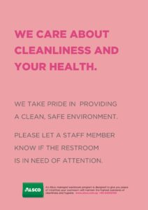 Alsco Cleanliness and Health pink poster.