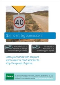 Alsco hygiene poster with a road sign.