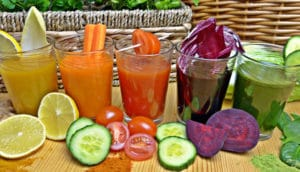 Glasses of detox fruits and veggies juices