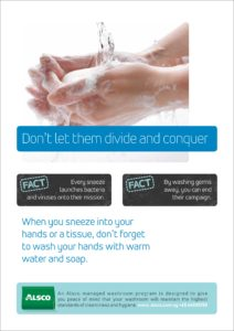 Alsco hygiene poster with a woman washing her hands with water and soap.