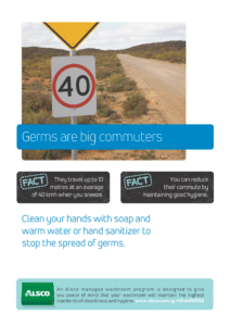 Alsco hygiene poster with a road sign