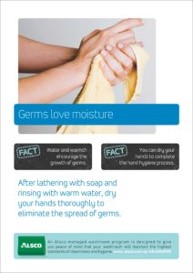 Alsco hygiene poster with a woman wiping her hands with cloth after washing.
