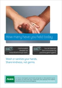 Alsco hygiene poster with two hands holding each other.