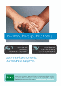 Alsco hygiene poster with two hands holding each other