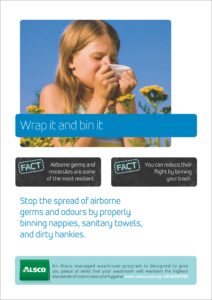 Alsco hygiene poster with a girl covering her nose with tissue while sneezing.