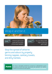 Alsco hygiene poster with a girl covering her nose with tissue while sneezing