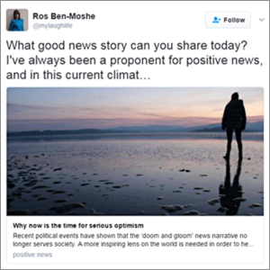 Twitter post sharing a positive news