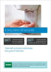 Alsco hygiene poster with a woman using hand sanitizer after washing.